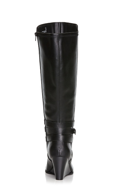 Cora Buckle Accented Riding Boot - black