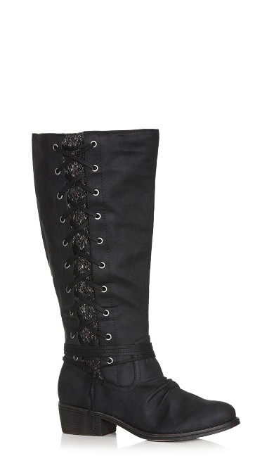 Plus Size Frankie Faux Lace-Up Boot - black
