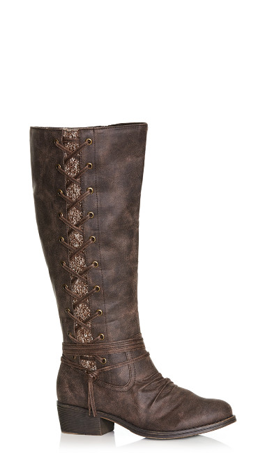 Plus Size Frankie Faux Lace-Up Boot - brown