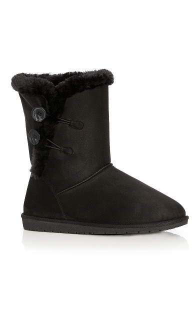 Plus Size Zoey Fur Lined Suede Boot - black
