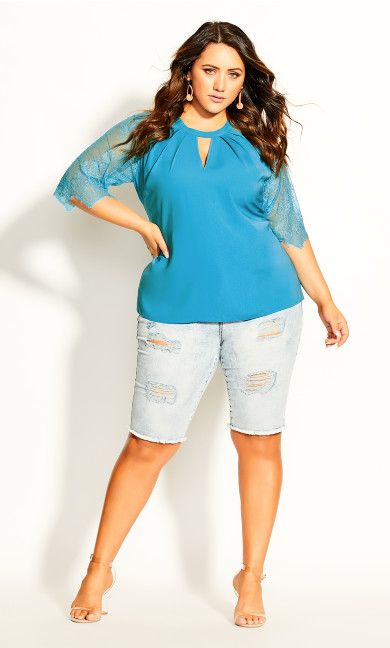 Short Lace Sleeve Top - aqua