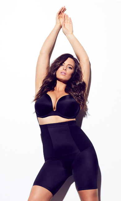 Women's Plus Size Black Smooth & Chic Thigh Shaper