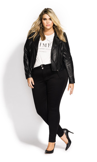 Women's Plus Size Whip Stitch Biker jacket - black