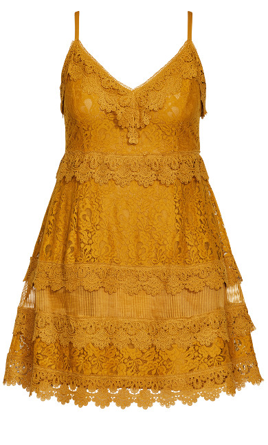 Nouveau Lace Dress - gold