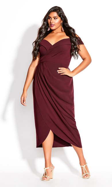 Women's Plus Size Rippled Love Dress - oxblood