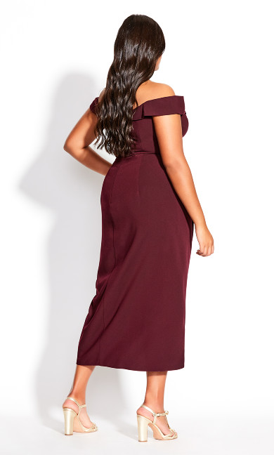 Rippled Love Dress - oxblood