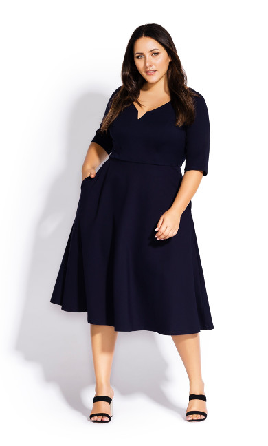 Women's Plus Size Cute Girl Sleeved Dress - navy