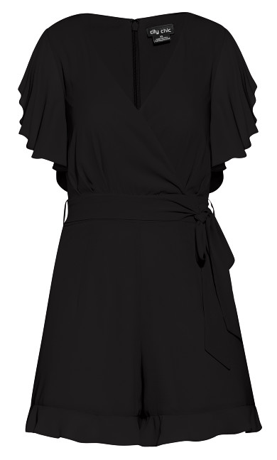 Frill Love Playsuit - black