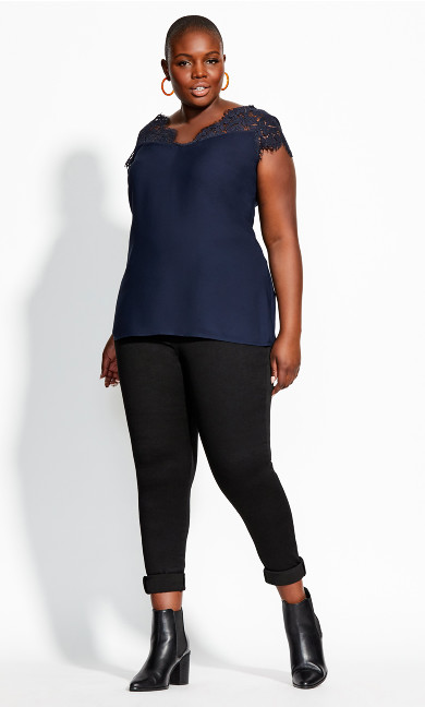Women's Plus Size Lace Touch Top - navy