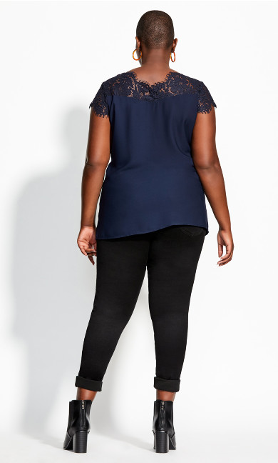 Lace Touch Top - navy