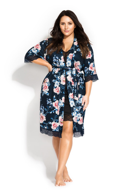 Women's Plus Size Leah Floral Wrap - navy