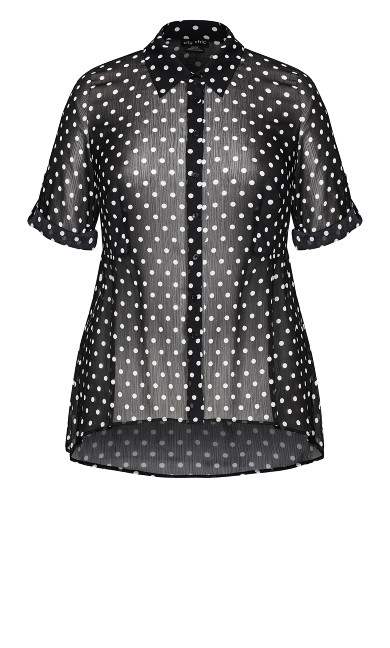 Spot Hi Lo Shirt - black