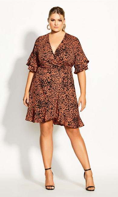 Leopard Flutter Dress - tawny