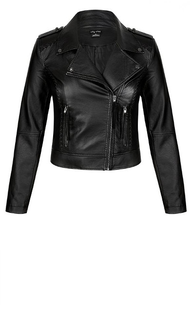 Whip Stitch Biker jacket - black