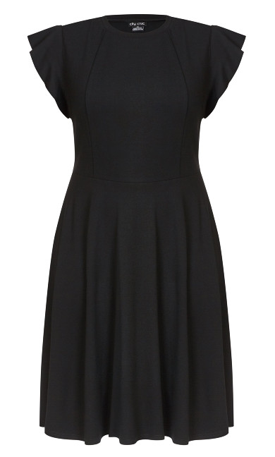 Black Frill Shoulder Dress