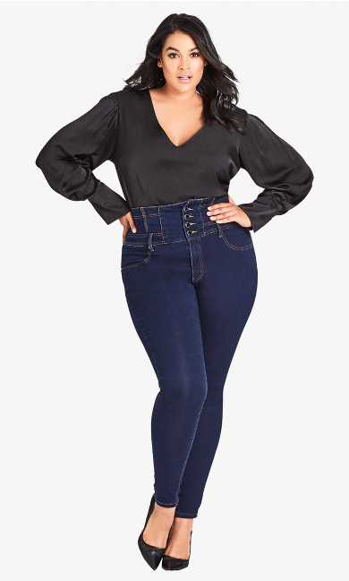 Women's Plus Size Harley Regular Corset Skinny - Denim
