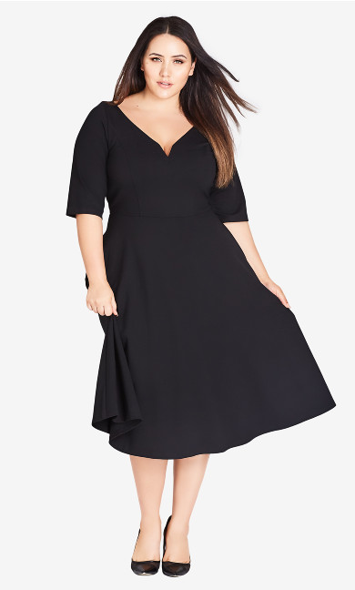 Women's Plus Size Cute Girl Sleeved Dress - black