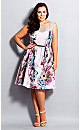 Dusty Rose Printed Fit & Flare Dress