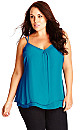 TOP PRETTY LACE BK - Teal - 16 / S