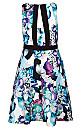 Oasis Floral Open Back Fit & Flare Dress