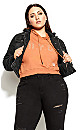 Plus Size Denim Street Jacket - black