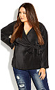 Plus Size Baby Pleat Top - black
