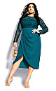 Plus Size Elegant Lace Dress - teal