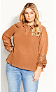 Plus Size Mysterious Lace Top - caramel