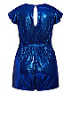 Plus Size Sequin Playsuit - electric blue