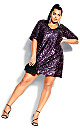 Sequin Glam Dress - rouge