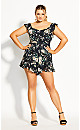 Heirloom Floral Playsuit - black