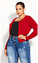 Plus Size French Kiss Cardi - crimson