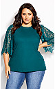 Plus Size Embroidered Angel Top - alpine