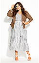 Plus Size Spotty Tier Dress - white