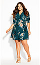 Plus Size Otsu Floral Dress - forest