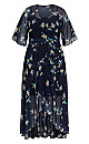 Plus Size Akita Floral Maxi Dress -  navy