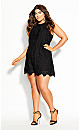 Embroidered Delight Playsuit - black