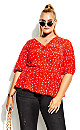 Plus Size Mini Botanical Top - red