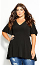 Plus Size Hi Lo Accent Top -black
