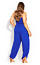 Smocked Jumpsuit - cobalt