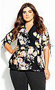 Plus Size Tuscan Rose Top - black