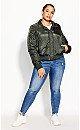 Plus Size Fly High Bomber Jacket - forest
