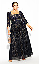 Plus Size Pleated Lace Maxi Dress - navy