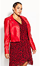 Plus Size Lust Biker Jacket - crimson