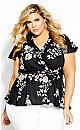 Plus Size Night Garden Wrap Top - black