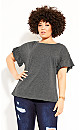 Plus Size Cutie Sleeve Top - charcoal