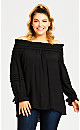 Plus Size Boho Off Shoulder Top - black
