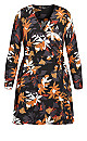 Plus Size Fall Floral Dress - black