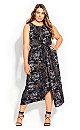 Plus Size Linear Print Dress - black