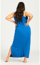 Plus Size Lace Trim Sleep Maxi Dress - cobalt